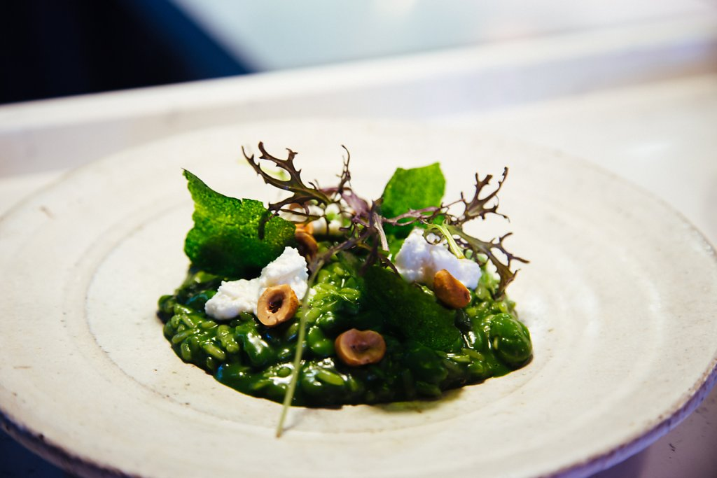 Risotto with parsley, broad beans, goats curd and wild herbs