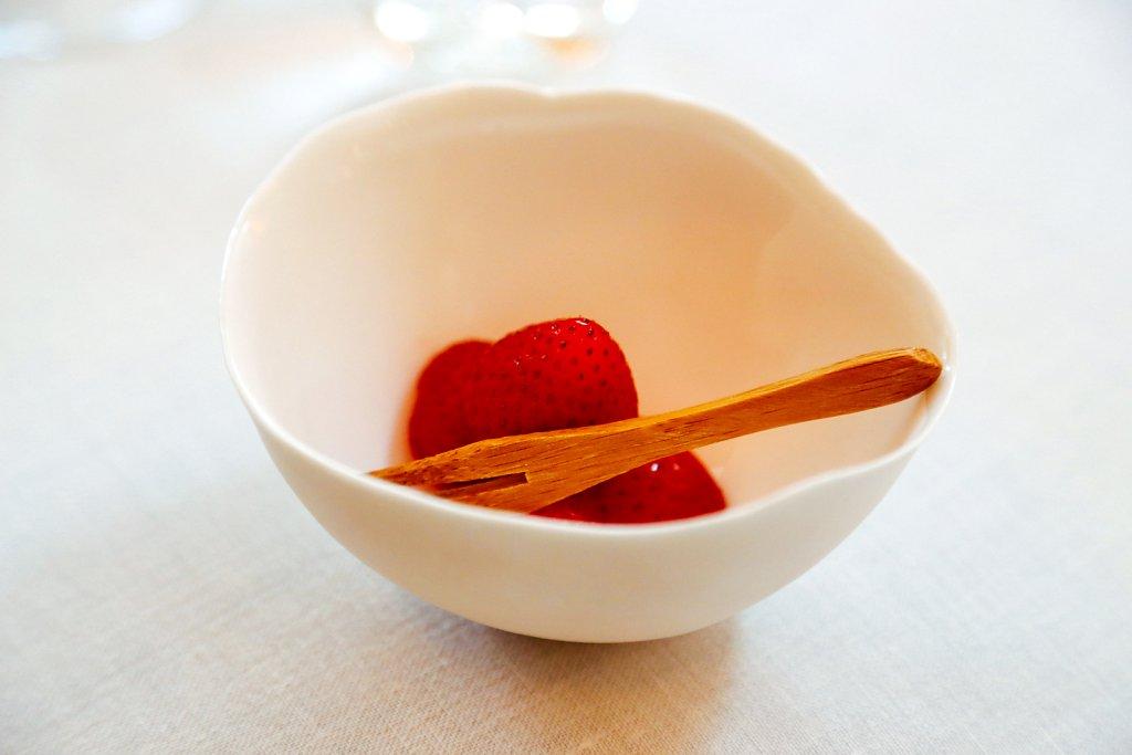 Mara de Bois- strawberries, marinated with Bitter orange/ coriander and angustorabitter and thyme oil
