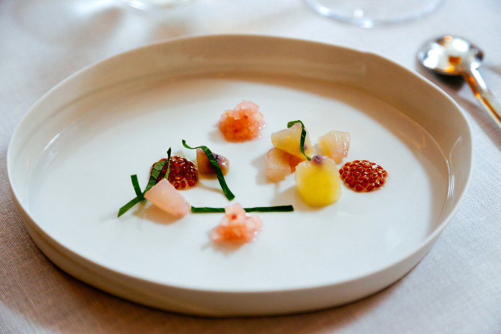Cresses salad (soaked seeds), cooked Cresses roots, cresses roots raw and pickled in verjus, nasturtium and blossom