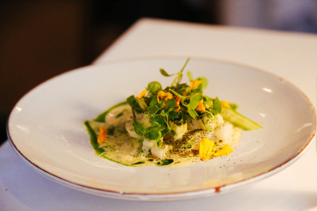 Slow baked cod with white asparagus, pine oil, buttered asparagus juice & roasted rutabaga