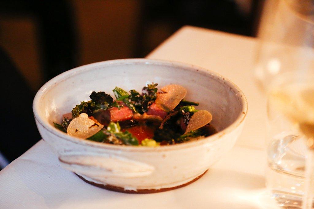 """Hot pot"" on lamb, cabbage, roasted cauliflower bouillon & summer truffle"