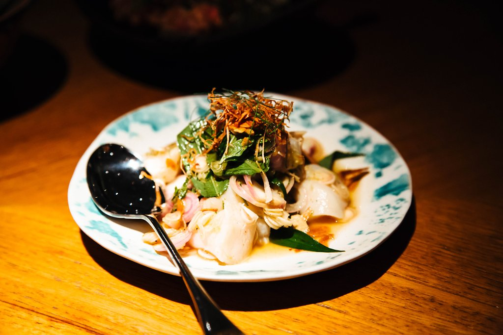 Cured scallop salad with lemongrass, mint and ginger