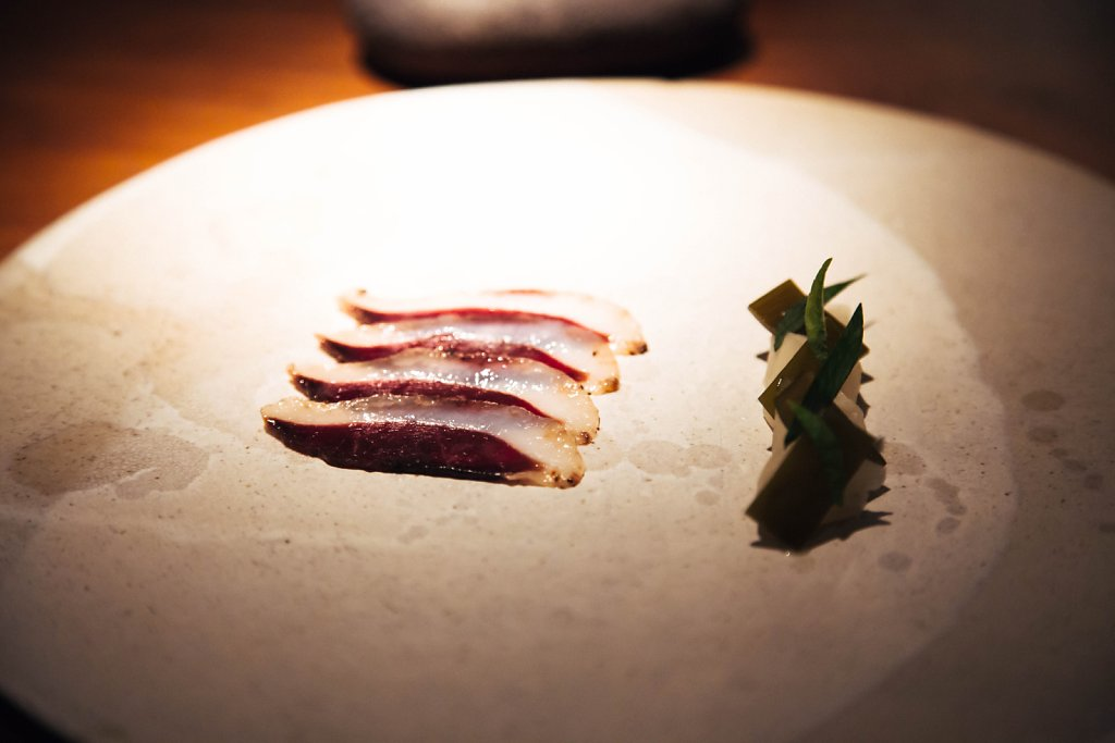 Goose and pickled chayote with dashi marinated kombu