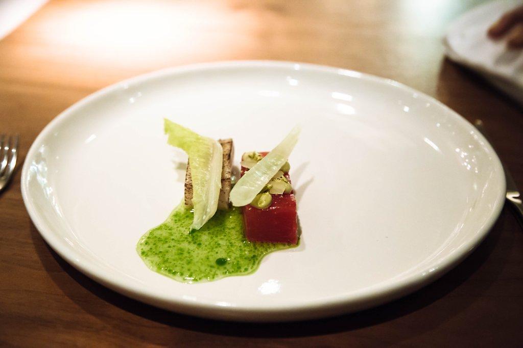 Hamachi, watermelon, mint and lettuce