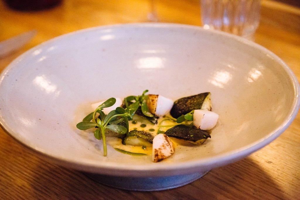 Charred Zucchini with Coriander & Scallops