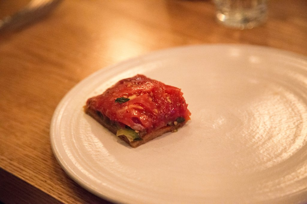 Heirloom Tomato Tart with Shiso & Red Onion