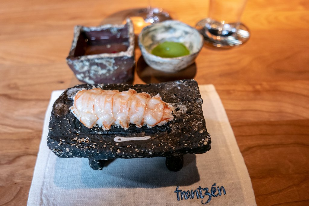 Deep fried langoustine, crispy rice, dried green onions, emulsion of clarified butter infused with ginger